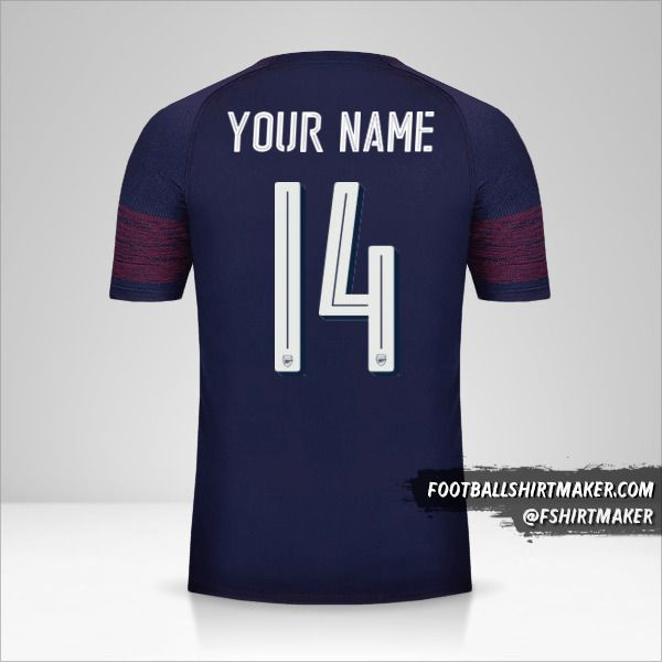 Arsenal 2018/19 Cup II jersey number 14 your name