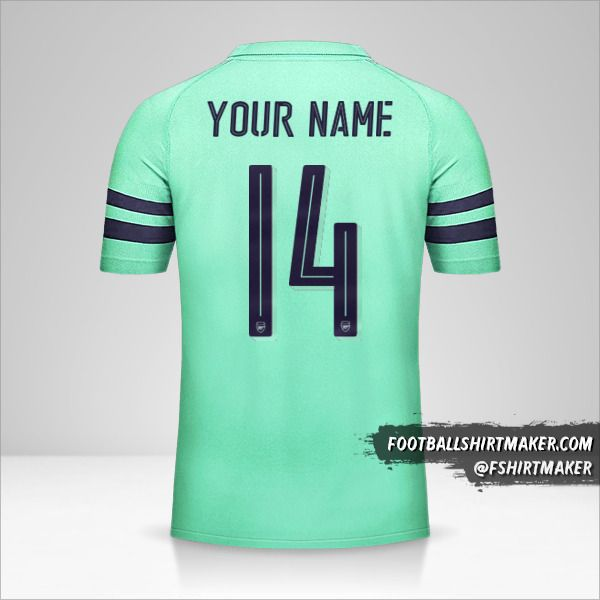 Arsenal 2018/19 Cup III jersey number 14 your name