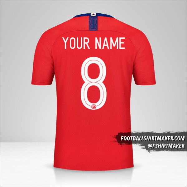 Chile jersey 2018/19 number 8 your name