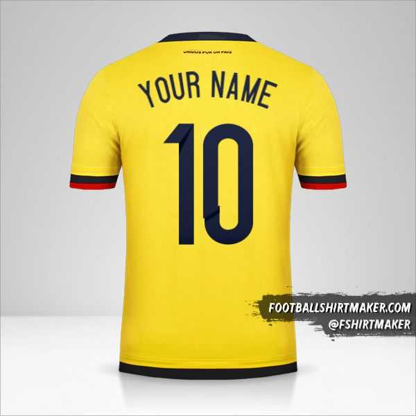 Colombia 2015 jersey number 10 your name