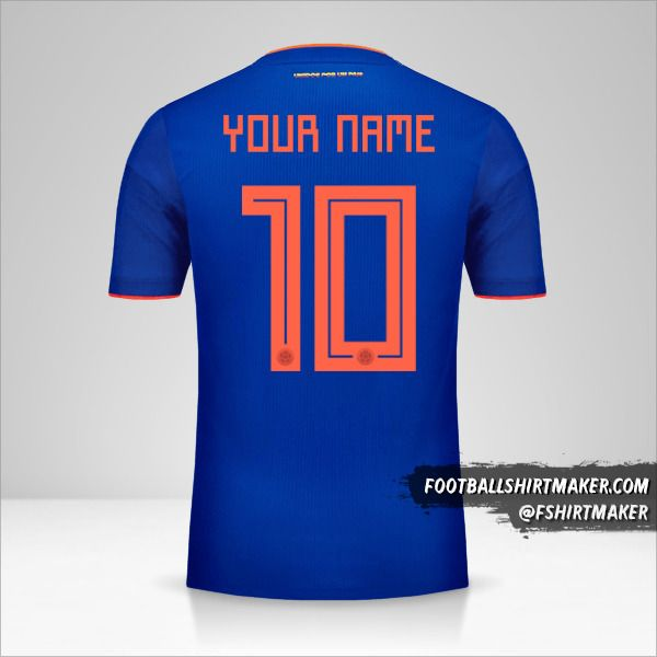 Colombia 2018 II jersey number 10 your name