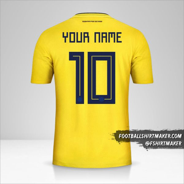 Colombia 2018 jersey number 10 your name