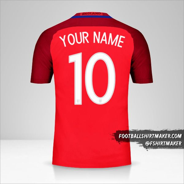 England 2016 II jersey number 10 your name