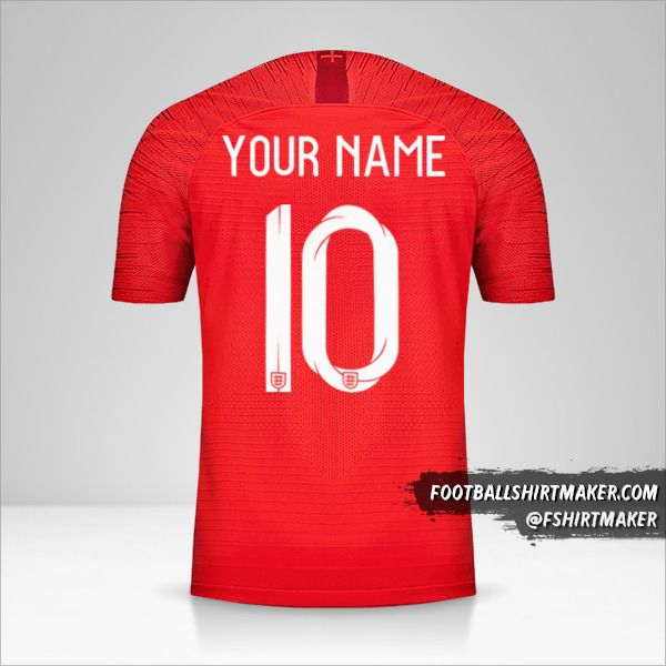 England 2018 II jersey number 10 your name