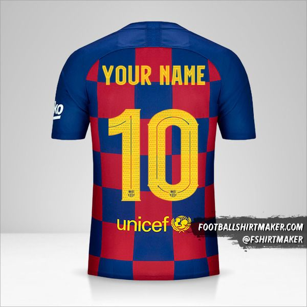 FC Barcelona 2019/20 Cup jersey number 10 your name