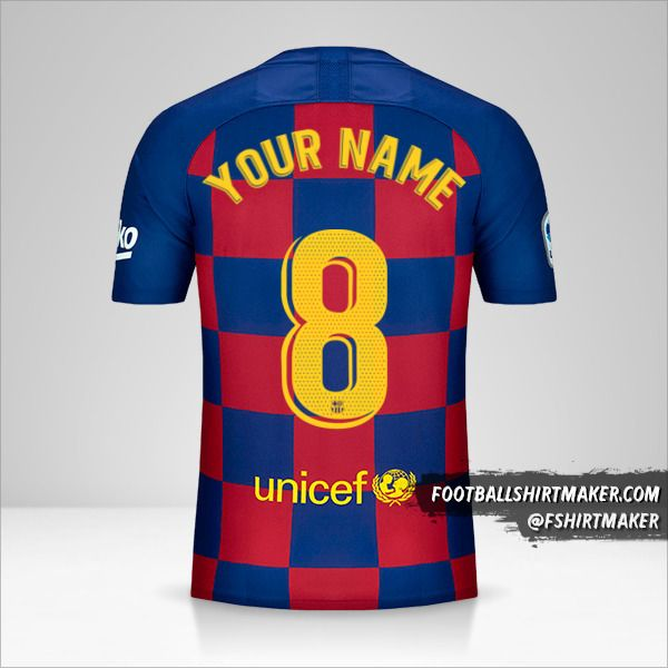 FC Barcelona jersey 2019/20 number 8 your name