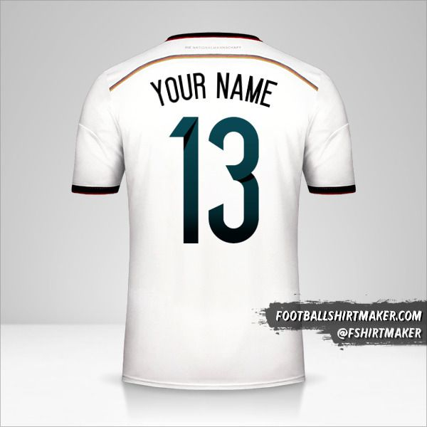 Germany 2014 jersey number 13 your name