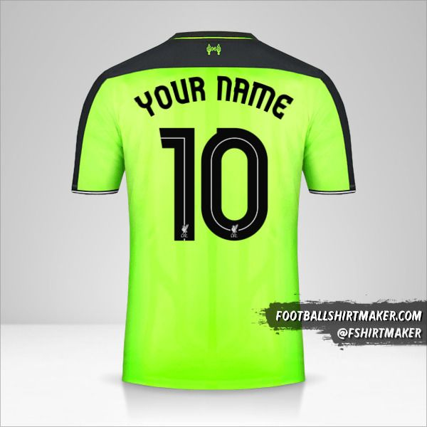 Liverpool FC 2016/17 Cup III jersey number 10 your name