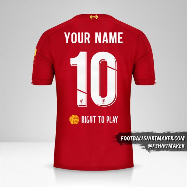 Liverpool FC 2019/20 Cup jersey number 10 your name