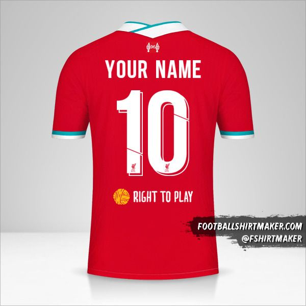 Liverpool FC 2020/21 Cup jersey number 10 your name