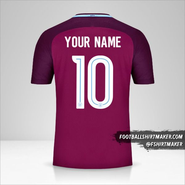 Manchester City 2017/18 Cup II jersey number 10 your name