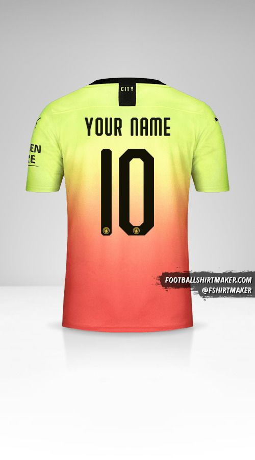 Manchester City 2019/20 Cup III jersey number 10 your name