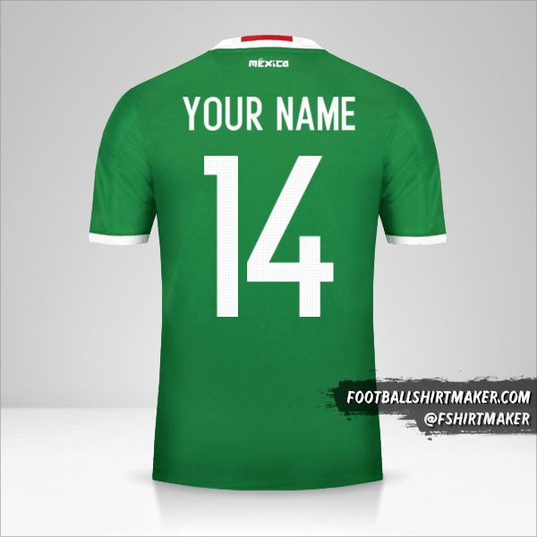 Mexico 2016 jersey number 14 your name