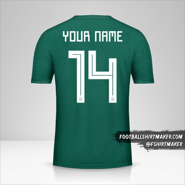 Mexico 2018 jersey number 14 your name