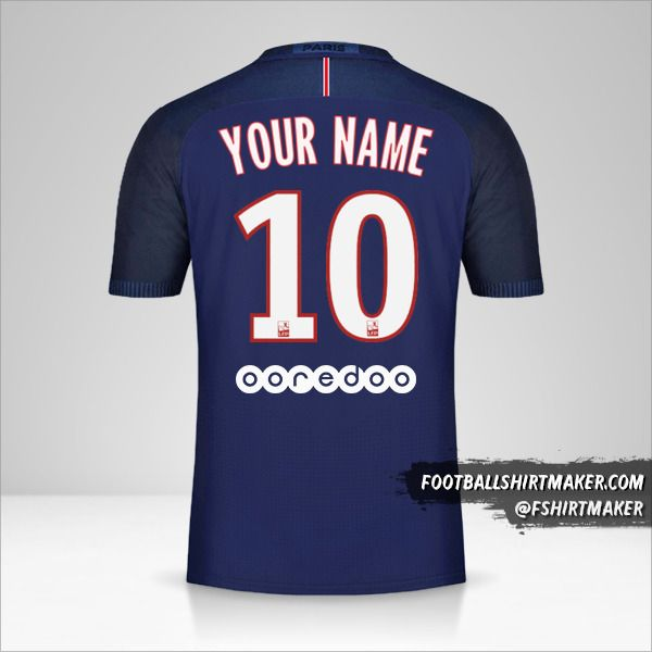 Paris Saint Germain 2016/17 jersey number 10 your name