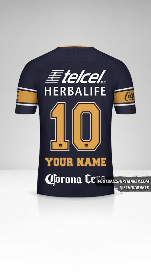 Pumas UNAM 2017/18 II jersey number 10 your name