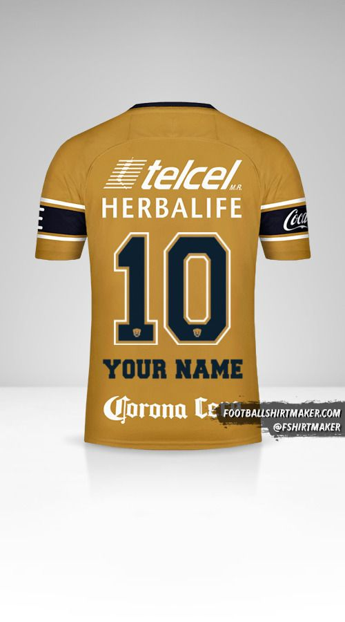 Pumas UNAM 2017/18 III jersey number 10 your name