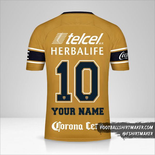 Pumas UNAM 2017/18 III jersey number 10 your name