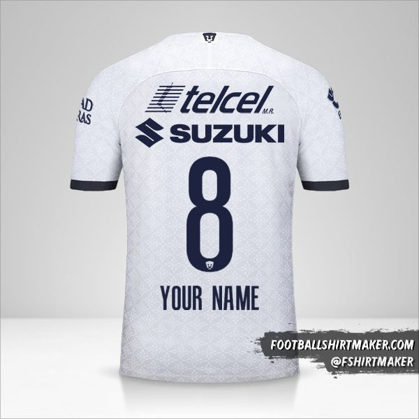 Pumas UNAM jersey 2019/20 number 8 your name
