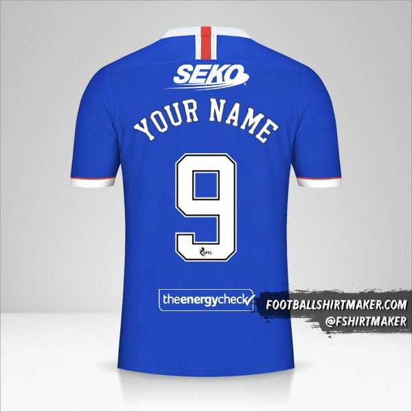 Rangers FC 2020/21 jersey number 9 your name