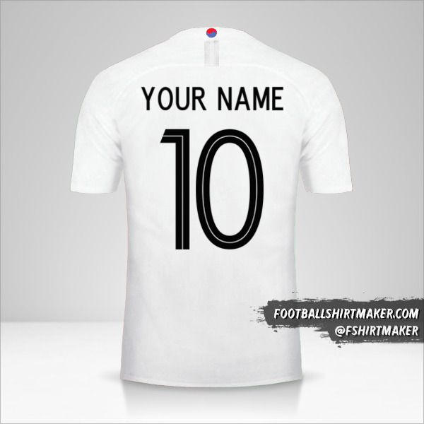 South Korea 2018 II jersey number 10 your name