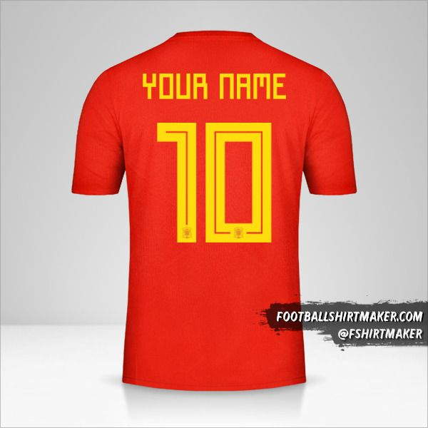 Spain 2018 jersey number 10 your name