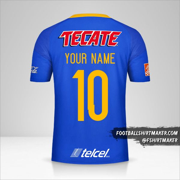 Tigres UANL 2016/17 II jersey number 10 your name