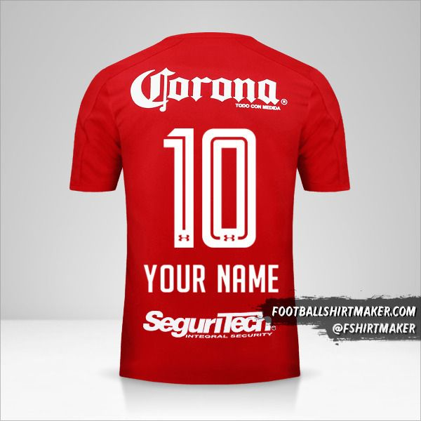 Toluca FC 2017/18 jersey number 10 your name