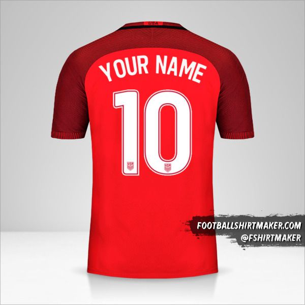 USA 2017 III jersey number 10 your name