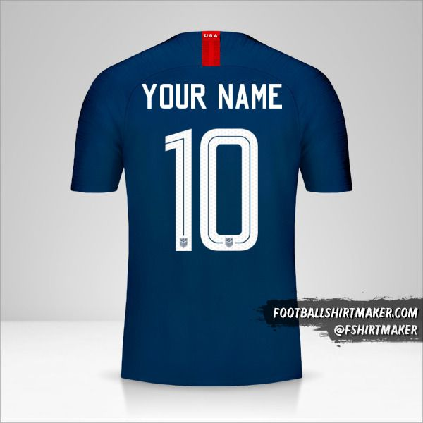 USA 2018 II jersey number 10 your name
