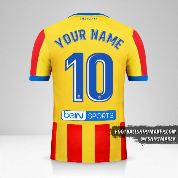 Valencia CF 2017/18 II jersey number 10 your name