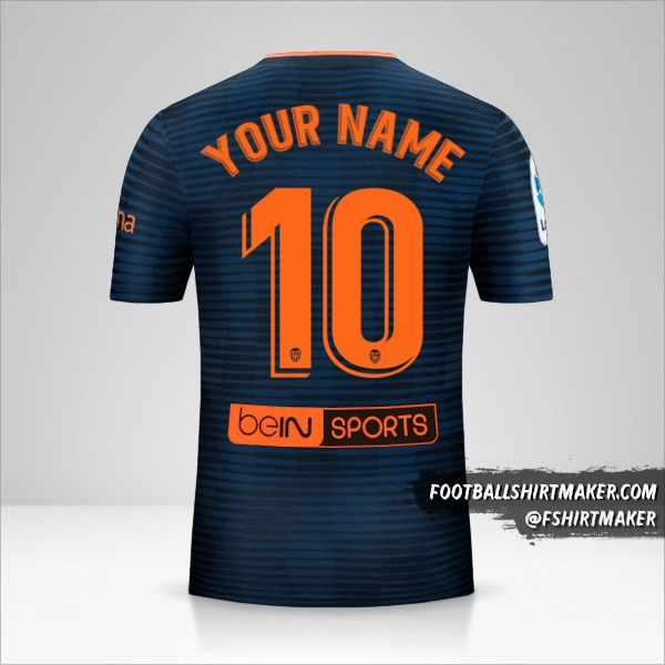 Valencia CF 2018/19 II jersey number 10 your name