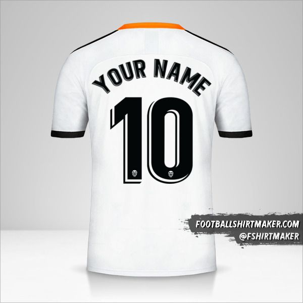 Valencia CF 2019/20 jersey number 10 your name