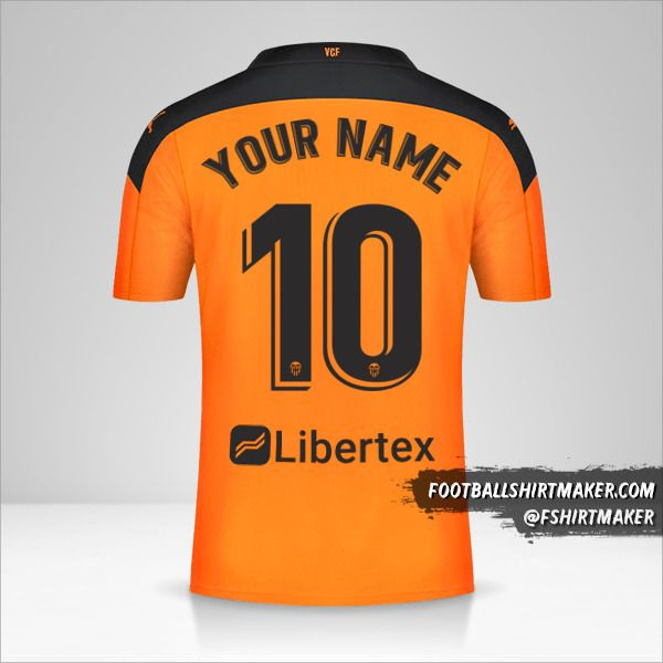 Valencia CF 2020/21 II jersey number 10 your name