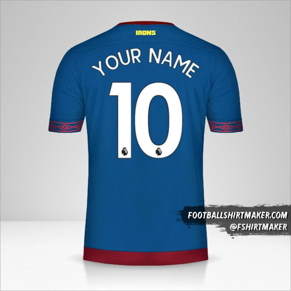 West Ham United FC 2018/19 II jersey number 10 your name