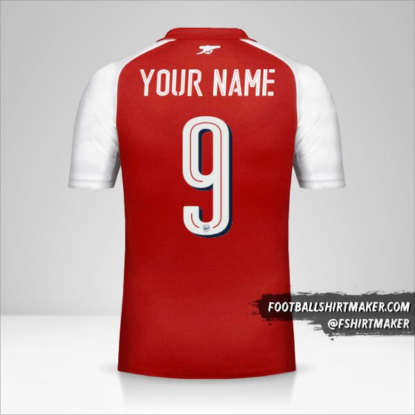 Arsenal 2017/18 Cup shirt number 9 your name
