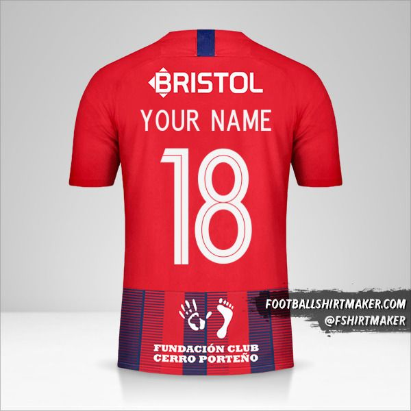 Club Cerro Porteño Libertadores 2019 shirt number 18 your name