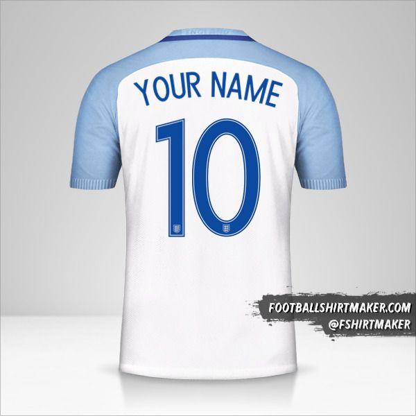 England 2016/17 shirt number 10 your name