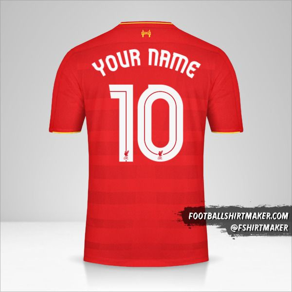Liverpool FC 2016/17 Cup shirt number 10 your name