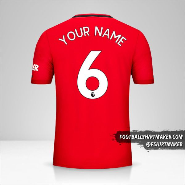 Manchester United 2019/20 shirt number 6 your name