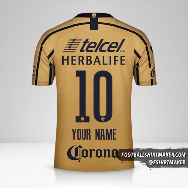 Pumas UNAM 2018/19 II shirt number 10 your name