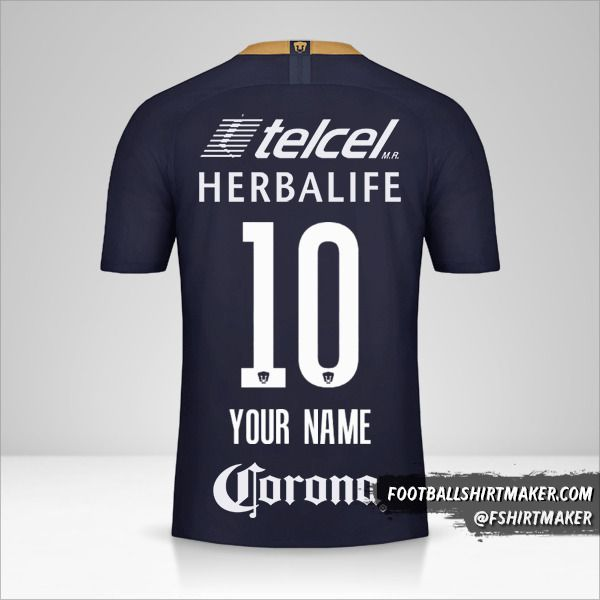 Pumas UNAM 2018/19 III shirt number 10 your name