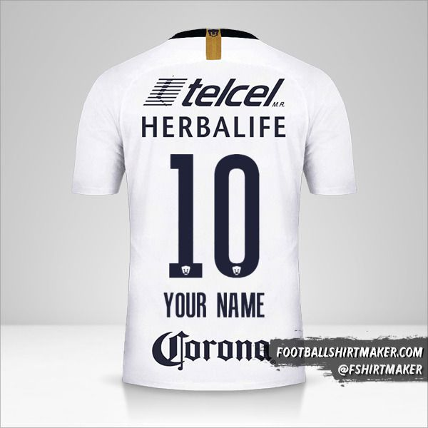 Pumas UNAM 2018/19 shirt number 10 your name