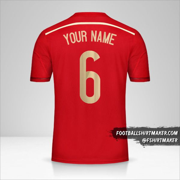 Spain 2014 shirt number 6 your name