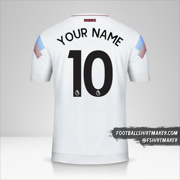 West Ham United FC 2018/19 III shirt number 10 your name