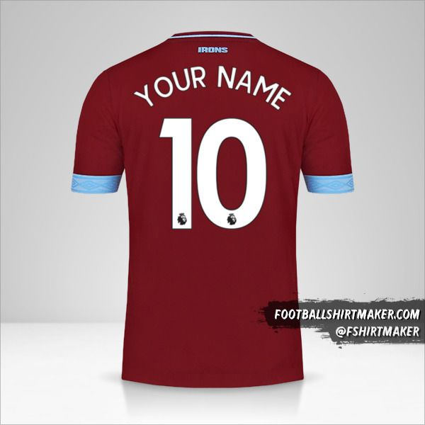 West Ham United FC 2018/19 shirt number 10 your name
