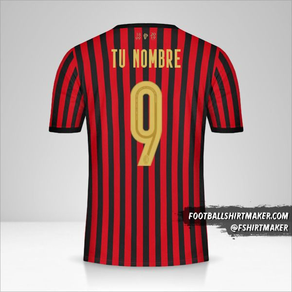 Jersey AC Milan 120Th número 9 tu nombre