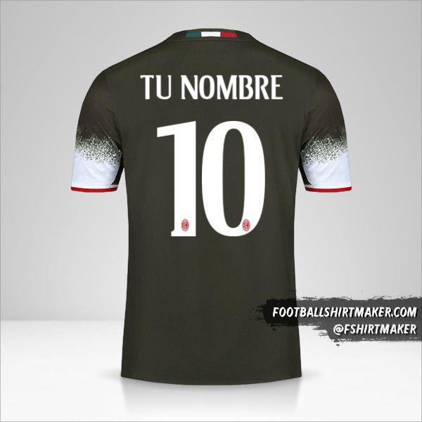 Jersey AC Milan 2016/17 III número 10 tu nombre