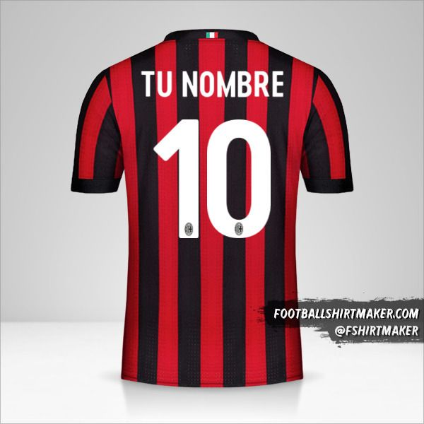 Jersey AC Milan 2017/18 número 10 tu nombre