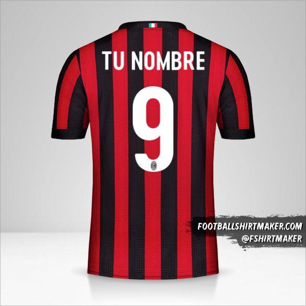 Jersey AC Milan 2017/18 número 9 tu nombre